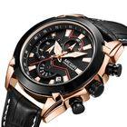 Meilleurs prix MEGIR 2065 Sport Watches Creative Chronograph Quartz Leather Strap Men Watch