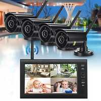 4Pcs Digital Wireless CCTV Camera Waterproof 7inch LCD Monitor DVR Record Home Security System