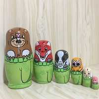 6Pcs/Set Wooden Animals Hand Painted Russian Nesting Dolls Matryoshka Dolls Toys Home Decorations