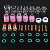38Pcs TIG Welding Stubby Torch Ring Slot Joint Clamp Glass Cup for WP-17/18/26