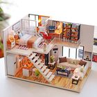 Meilleurs prix Loft Apartments Miniature Dollhouse Wooden Doll House Furniture LED Kit Christmas Birthday Gifts
