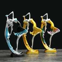 Elegant Dancing Girl Decoration Resin Art Deco Sculpture Abstract Statue Decorations