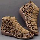 Prix de gros Women Large Size Suede Leopard Grain Slip On Comnfy Casual Ankle Short Boots