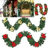 2.7M AC220V EU Plug Decorated LED Garland Fireplace Tree Pine Ribbon Christmas Holiday Light