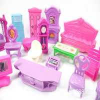 Doll House Set Plastic Furniture Miniature Rooms Dolls Toys Kids Children Pretend Play Gift Decoration Modeling