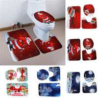 3PCS Christmas Home Decoration Snowman Santa Toilet Seat Cover Bathroom Mat Closestool Cover Rug
