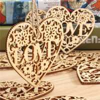 10pcs Heart Love DIY Woodcraft Hanging Decoration Craft Gift