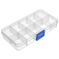 Adjustable Detachable Compartment Empty Storage Case Box 10 Cells For Nail Tip Gems Little Stuff