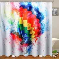 3D Digital Printing Various Pattern Bathroom Shower Curtain Waterproof & 12 Hook