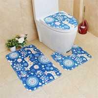 3Pcs Bathroom Cartoon Flannel Toilet Pad Digital Printed PVC Latex Net Bottom Anti-slip Mat Set