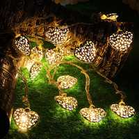 KCASA 2M 20 LED Metal Heart String Lights LED Fairy Lights for Festival Christmas Halloween Party Wedding Decoration Battery Powered