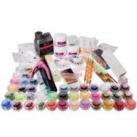 42 Acrylic Glitter Powder Nail Art Builder Tip File Brush Dotting Pen Kit Tweezer Clipper Block Set