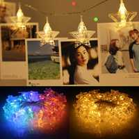 1.5M 10 LED Hanging Fairy String Light Photo Peg Clips Wedding Party Decor Warm White Colorful Lamp
