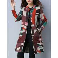 Casual Women Color Block Coat