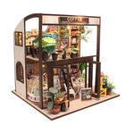 Meilleurs prix Cuteroom Handcraft DIY Doll House Time Cafe Toy Wooden Miniature Furniture LED Light Gift