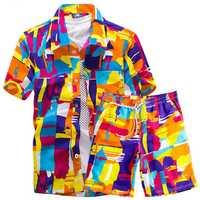 Men Hawaiian Printing Loose Shirt Suit Board Shorts