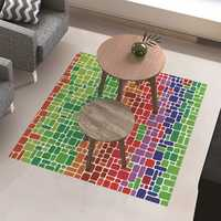 PAG Floor Sticker Tea Table Decor Waterproof Colorful Blocks Anti Skid Floor Decal Home Improvement