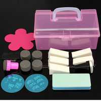 Nail Art Sponge Polish Metal Stamping Plates Template Transfer DIY Manicure Tool Set Kit