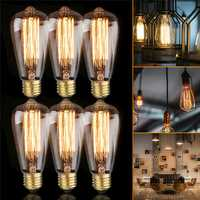 6PCS ST64 40W E27 Dimmable Edison Antique Vintage Filament Incandescent Light Bulb AC220V