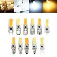 Dimmable E11 E12 E14 E17 G4 G8 G9 BA15D 2.5W LED COB Silicone Pure White Warm White Light Bulb 110V