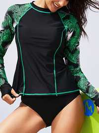 Split Long Sleeve Sun Protection Print Tankinis