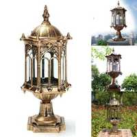 220V E27 Exterior Antique Brass Post Fence Lantern Light Landscape Garden Lamp