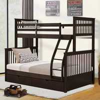 Twin-Over-Full Bunk Bed with Ladders and Two Storage Drawers Double Bed