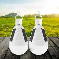 2pcs 7W Solar Powered E27 LED Rechargeable Light Bulb Tent Camping Emergency Lamp with Hook