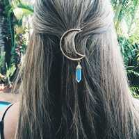 Colorful Natural Stone Hollow Moon Charm Hair Clip