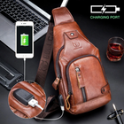 Meilleurs prix Bullcaptain Genuine Leather Business Casual Chest Bag Shoulder Crossbody Bag