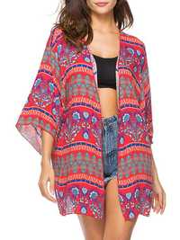 Plus Size 3/4 Sleeves Printing Beach Cover-Ups