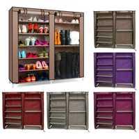 6 Tier Covered Shoes Rack DIY Storage Shelf Tidy Organizer Cabinet Closet Stand Dustproof Cupboard