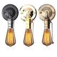 E27 Antique Vintage Wall Light Chain Design Sconce Lamp Bulb Socket Holder Fixture