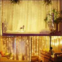 3Mx3M EU Plug AC220V 5W Wedding Drape Stage LED Curtain String Light Home Party Christmas Decoration