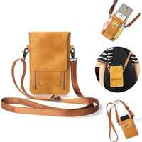 Vintage PU Leather Card Holder 6inch Phone Bag Shoulder Bag Crossbody Bags