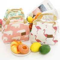 Bento Pouch Lunch Linen Cotton Bag Thermal Insulated Lunch Box Tote Cooler Bag
