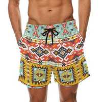 Men Floral Printed Drawstring Hawaiian Shorts
