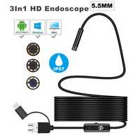 Bakeey 3 in 1 5.5mm 6Led Type C Micro USB Endoscope Inspection Camera Soft Cable for Android PC