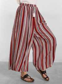 O-NEWE L-5XL Women Elastic Waist Striped Printed Wide Legs Pants