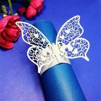 Laser Cut Butterfly Shape Napkin Rings for Dinners Lunch Tables Home Wedding Anniversray Party Decor