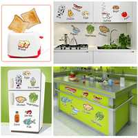 Cartoon Kitchen Wall Sticker Refrigerator Door Stickers Decorative Stickers Food Fruit Decals Waterproof Removable Kids Lovely Kitchen Utensils Wall Decor