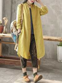 Casual Women Cotton Loose Solid Color Button Long Blouse