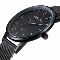 CRRJU 2117 Luxury Men Fashion Ultra Thin Quartz Wristwatch