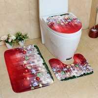 3PCS Christmas Foot Pads Toilet Seat Covers Rugs Set Bathroom Set Decoration Xmas Supplies Carpets Washable