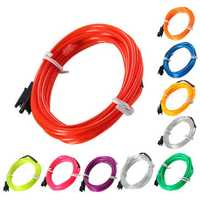 2M EL Led Flexible Soft Tube Wire Neon Glow Car Rope Strip Light Xmas Decor DC 12V