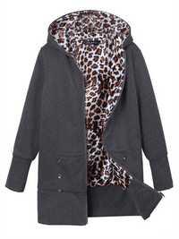 Plus Size Women Leopard Hoodie Slim Coat Casual Outwear