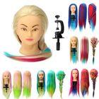 Bon prix 8 Colors Salon Hairdressing Braiding Practice Mannequin Hair Training Head Models With Clamp Holder