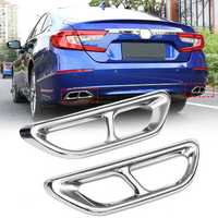 2Pcs Stainless Steel Rear Cylinder Exhaust Muffler Pipe Cover Trim for Honda Accord 10th 2018