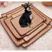Pet Dog Cat Hot Summer Cooling Bed Rattan Tatami Bamboo Cozy Sleep Pad Mat Multiuse Tatami Seat