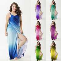 Sexy Women Gradient Long Beach Skirt Cover up Outdoor Sunscreen Sling Dress Sarong Wrap Shawl multi-function Bath Towel